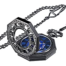 Reloj de Bolsillo de Esqueleto Azul Mecánico Vintage de Cuerda Manual con Cadena