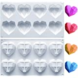 Amurgo 1 Pack Diamond Heart Silicone Mold for Chocolate Bombs, 8 Cavities Non-stick Easy Release Heart Shaped Silicone Mold T