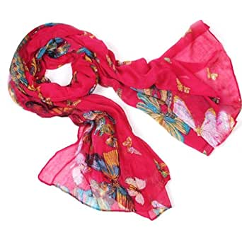 SWT Women Beautiful Soft Scarf Butterfly Printed Cape --- Red
