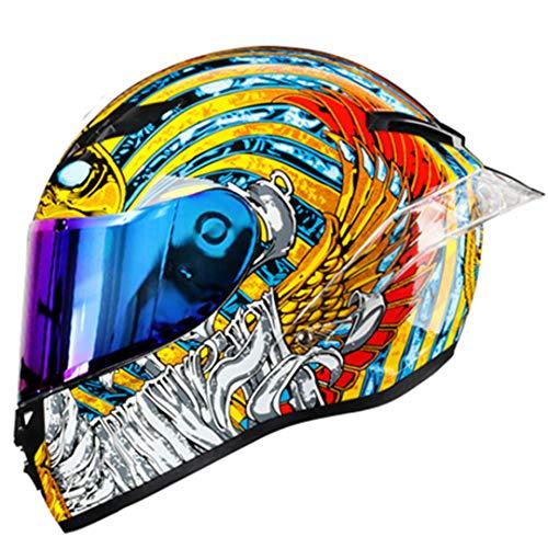 KeRuiLou Casco Moto Integrale Casco Moto Integrale off Road Motocross Moto Kask Helm rainbow2 XXL