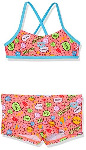 Arena Jr Top Bikini Niña Fantasy, Niñas, Shiny Pink-Multi, 6-7