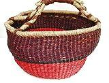 Schönes braun und Rost farbigem rund, Einkaufskorb in bester Qualität Jute mit Kunstleder Griffe