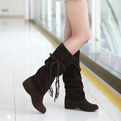 Longra La decorazione delle nappe delle donne aumenta gli stivali alti medi di punta Caffè