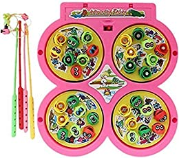 Jvm Fish Catching Game With 4 Pools For Kids (Battery Operated) (2-4 Players Game) (Assorted Color)