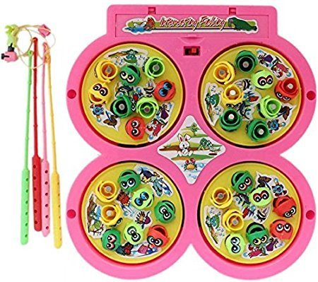 Fish Catching Game With 4 Pools (Battery Operated) (2-4 Players Game) A Complete Family Entertainment set for kids (Assorted Color)