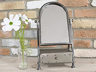 Industrial Metal Cheval Dressing Table Bathroom Makeup Shaving Mirror & Drawer - cheap UK light shop.