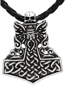 Viking Wikinger Geflügelter Schädel Totenkopf Anhänger Halskette Thor Hammer Thorhammer antikes Silber
