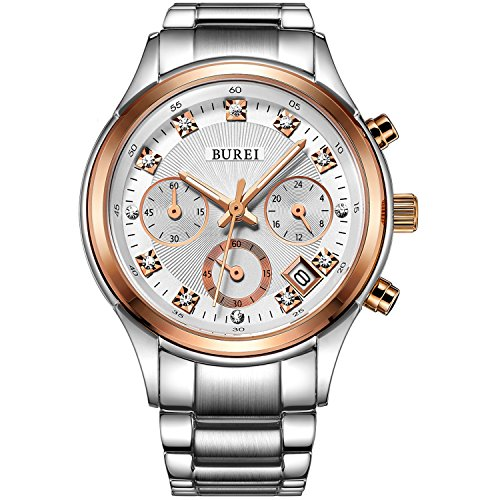 BUREI-Womens-Chronograph-Quartz-Watch-with-Date-and-Elegant-Rose-Gold-Diamond-Analogue-and-Stainless-Steel-Bracelet