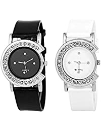 Xforia Girl Watch Rubber Band Black & White Dial Watches For Women (Pack Of 2 VS-FLX-737)
