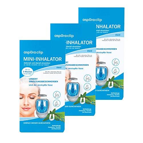 aspUraclip Mini-Inhalator med (3er Pack) | Erster Mini-Inhalator für die Nase | Mit 100% Bio-Ölen aus Eukalyptus, Thymian und Ravensara | Ätherische Öle können Erkältungsbeschwerden lindern