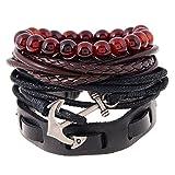 joielavie 4in 1Set Armband Anker Anchor-Perle Buddha rot multi Reihen Seil geflochten Leder Legierung verstellbar Kette von Hand Schmuck Vintage Geschenk Herren Damen