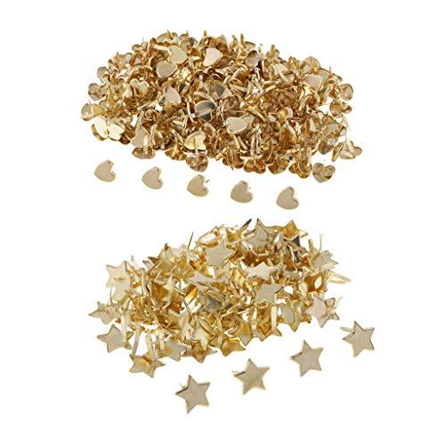 FLAMEER 300x Star Heart Metall Brad Papierverschluss Für Scrapbooking Papier Handwerk Gold - Gold Scrapbooking Brads