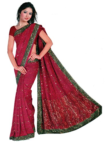 Trendofindia Luxus Pailletten Georgette Sari Rot Grün -