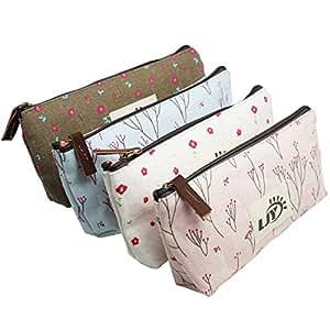 Ljy assortiti fiore floreale tela matita portapenne cancelleria sacchetto cosmetico sacchetti, 4pezzo