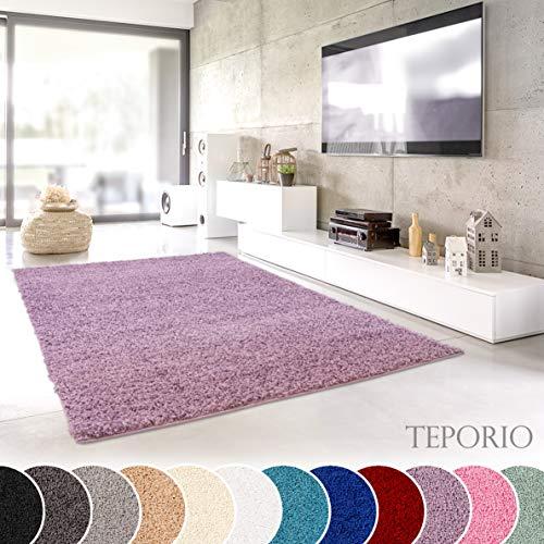 Teporio Shaggy-Teppich | Flauschiger Hochflor fürs Wohnzimmer, Schlafzimmer oder Kinderzimmer | einfarbig, schadstoffgeprüft, allergikergeeignet (Lila Pastell - 40 x 60 cm)