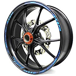 18-piece rim sticker neon line rim design including rim bed sticker, complete set – Finest Folia suitable for 17 inch and 16 inch 18 inch 19 inch rims motorcycle car bicycle.