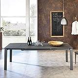 Pharao24 Ausziehbarer Tisch aus Sicherheitsglas und Metall modern