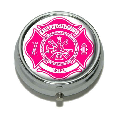 r Malteser Kreuz–Feuerwehrmann 's Wife–Pink Pille Fall Schmuckkästchen Geschenk-Box (Rosa Feuerwehrmann)