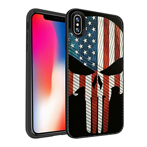Apple iPhone X Handy Tasche mit Grip Muster [Slim Case für iPhone 10, für iPhone X Edition, für iPhone 102017] Hard Shell Hybrid Case für Apple iPhone X Handy Cover, American Flag Skull American Flag-handy-fall