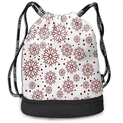 LULABE Printed Drawstring Backpacks Bags,Vivid Floral Arrangement Traditional Polka Dots Winter Holiday Inspired Palette,Adjustable String Closure Floral Swiss Dot
