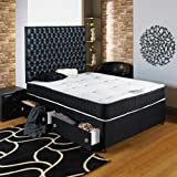 Hf4you Black Divan Bed - 4Ft Small Double - End Drawer - No Headboard