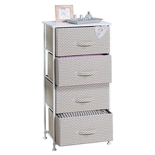 mDesign Comoda con 4 cajones - Organizador de armarios y vestidores en tela - Cajoneras para armarios, para el dormitorio o el cuarto de los niños - Color: gris topo/natural