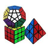 FAVNIC Speed Cube Set de 3 Paquetes, Magic Cube 3x3 Pyraminx Megaminx Smooth Puzzle Cube Sticker para niños