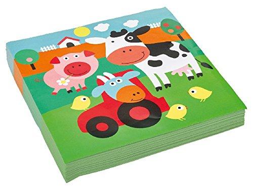 amscan Servietten Motiv Farm Fun 33x33 cm 20 Stück (Disney Tier Für Kinder Kostüm)