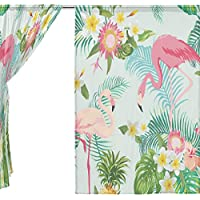 jstel Fenicotteri tenda in voile floreale tropicale, 2pezzi, tulle Sheer Curtain Drape Valance 139,7x 198,1cm Set di due pannelli, Poliestere, Blue, 55x78x2(in)