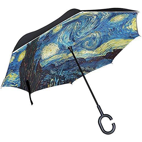 Merle House Van Gogh Starry Night Galaxy Umbrella Reverse Inverted Umbrella, Spring Golf Umbrella Windproof C Handle for Rain Sun Car