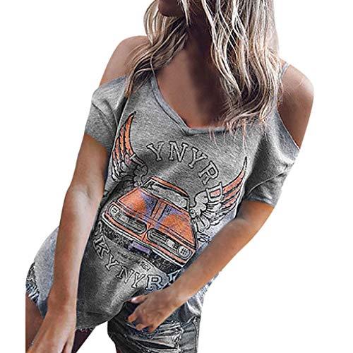 Andouy Damen T-Shirt Schulterfrei V-Ausschnitt Auto Flügel Slogan Print T-Gr.36-42 Sexy Kurzarm Tops Bluse(M(38),Graues Auto)