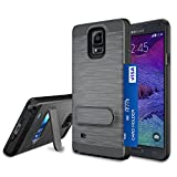 Jeylly Galaxy Note 4 Case, Note 4 Card Holder Cover, Black