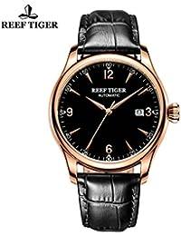 Reef de los hombres de tigre vestido relojes con fecha de oro rosa reloj con correa de piel rga823