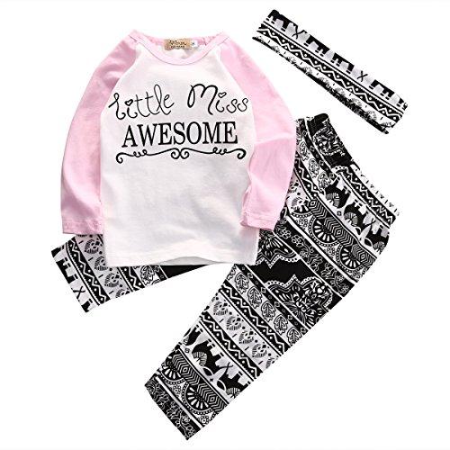 a2d9e25e4a304 ZXCVBN Boutique Kids Baby Girls Top T-Shirt Pants Leggings Headband 3Pcs  Outfits Toddler Kids