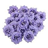 50 Stk. Seide Rosen Künstliche Braut Clips Hochzeit Dekoration Blumenköpfe (Lila)