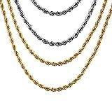 Vnox 4 piezas de acero inoxidable torcido cordón cadena collar para hombres mujeres, plata + oro,50 cm + 60 cm