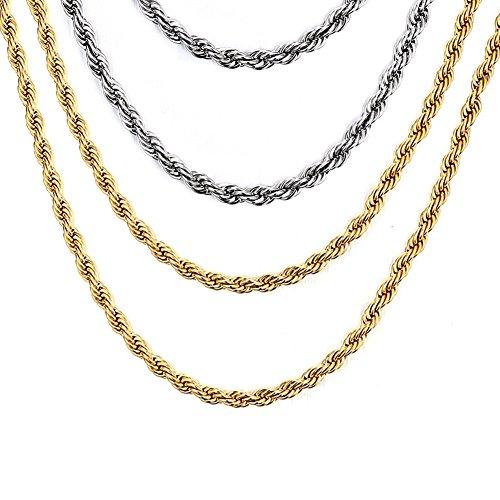 Vnox 4 piezas acero inoxidable torcido cordón cadena