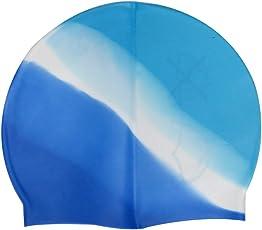 Neska Moda Blue White Full Head Cover Unisex Silicon Swimming Cap-Free Size