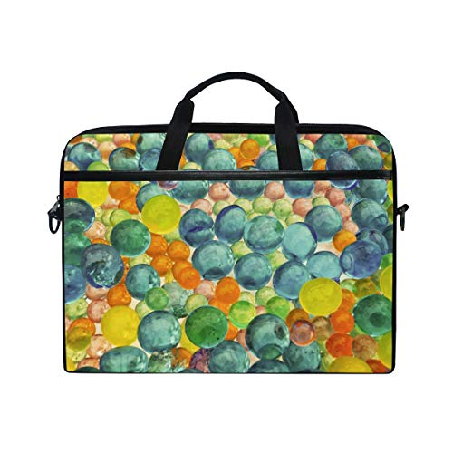 Stilvolle Aktentasche Laptoptasche 15 Zoll mit Schultergurt für Männer und Frauen Textur bunten Blasen