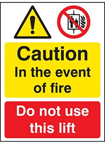 Nicht Verwenden, Lift (Caledonia Schilder 51213in Event Of Fire nIcHT Verwenden Lift Zeichen, selbstklebende Rückseite)
