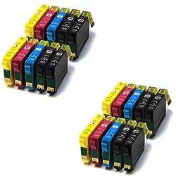 Prestige Cartridge T0611-T0614 Lot de 20 Cartouches d'encre compatible avec Imprimante Epson Stylus D68 D88 Plus DX3800 DX3850 Plus DX4200 DX4250 DX4800 DX4850 Plus, Noir/Cyan/Magenta/Jaune