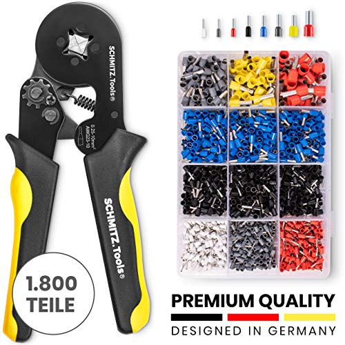Crimpzangen Aderendhülsen Set [1.800 Stück] SCHMITZ.Tools® -Aderendhülslenzange - Elektriker Werkzeuge - Crimpzangen Set [0,5- 10mm2] - Aderendhuelsen Sortiment - Crimpzange Set -Elektrowerkzeug