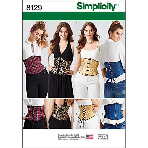 (Simplicity Muster 8129Misses 'Easy Taillenmieder Korsetts Schnittmuster, weiß, Größe H5)