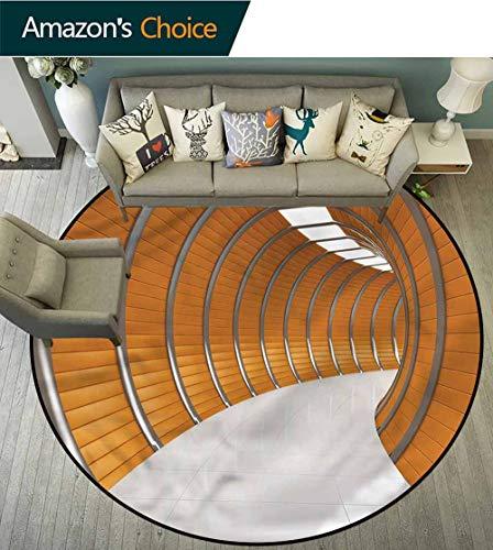 RUGSMAT Teppich, modernes Art-Deco-Muster, rutschfest, waschbar, rund, geometrisch, Grün/Blau - perfekt für jeden Ort, Polyester-Mischgewebe, Style-04, Diameter-47 -