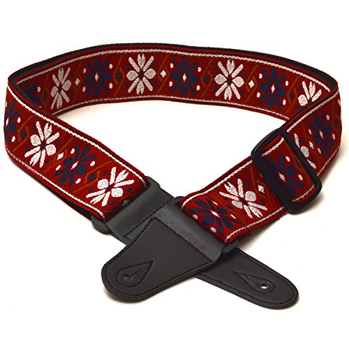 elagon-mer-textured-woven-red-fabric-pattern-guitar-strap-for-electric-acoustic-and-bass-guitar-qual
