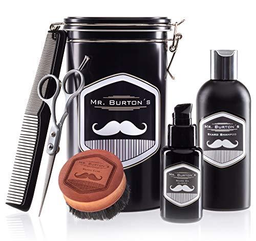 Bartpflegeset Bartpflege aus Deutschland Mr Burton´s - inkl. Bartöl classic, Bartshampoo, Bartbürste, Bartschere und Kamm