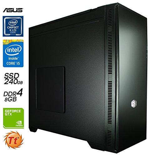 SNOGARD MediaLine PC ohne Betriebssystem | Intel Core i5-6500 CPU | 8GB DDR4 | 240GB SSD + 3TB HDD | 4GB Nvidia GF GTX1050 Ti • Home & Office Business & Multimedia Desktop Computer Workstation + Gaming
