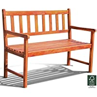 Leisure Zone 2-Seater FSC certified Wood Bench Seat Park Garden Bench Outdoor Garden Armrest Chair Rustic High Back Loveseat Conservatory, Patio, Lawn or Garden Seat 120 cm/4 Ft