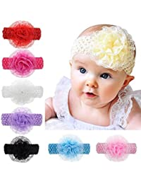 Baby Basics Company Crochet Cutwork Flower Headband for Baby Girls (Multicolor,Pack of 6)