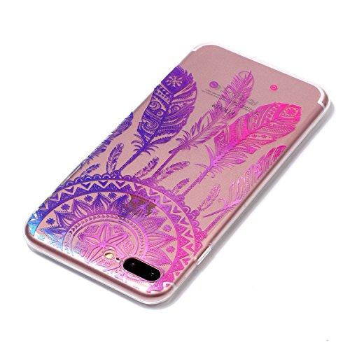 Coque iPhone 7 Plus(5.5 pouce),Linvei Ultra Mince TPU Silicone Design avec Shock-Absorption et Antichoc Housse - Petit panda Plume Dreamcatcher